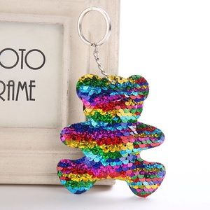 Accessories - Rainbow sequin bear purse charm keychain NEW